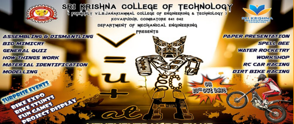 V=U+AT 15, Sri Krishna College of Technology, October 13 2015, Coimbatore, Tamil Nadu