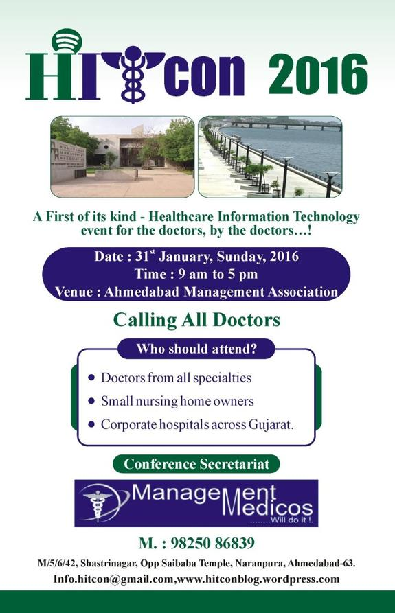 HITCon-2016, Management Medicos, Jan 31 2016, Ahmedabad, Gujarat