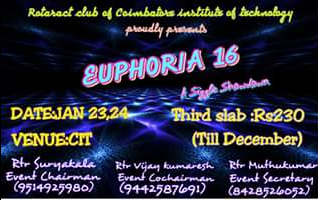 Euphoria 16, Coimbatore Institute of Technology, Jan 23-24, 2016, Coimbatore, Tamil Nadu