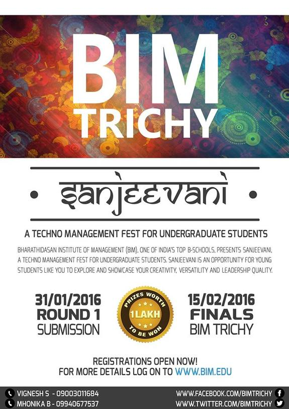 Sanjeevani 2016, Bharathidasan Institute Of Management (BIM), Feb 15 2016, Trichy, Tamil Nadu
