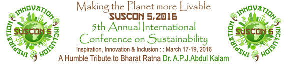 SUSCON-V Annual International Conference on Sustainability, Indian Institute of Management (IIM), Mar 17-19, 2016, Shillong, Meghalaya