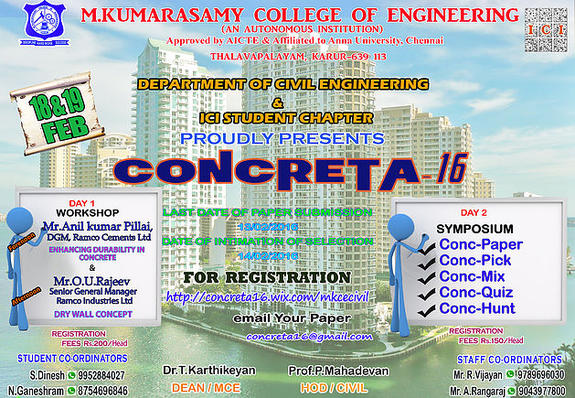 CONCRETA 16, M Kumarasamy College of Engineering, Feb 18-19 2016, Karur, Tamil Nadu