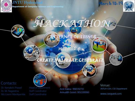 Hackathon on Internet of Thiings, JNTUH College of Engineering, March 18-19 2016, Hyderabad, Telangana