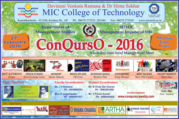 Conqurso 2016, DVR and DR HS MIC Institute of Technology, Feb 27 2016, Vijayawada, Andhra Pradesh