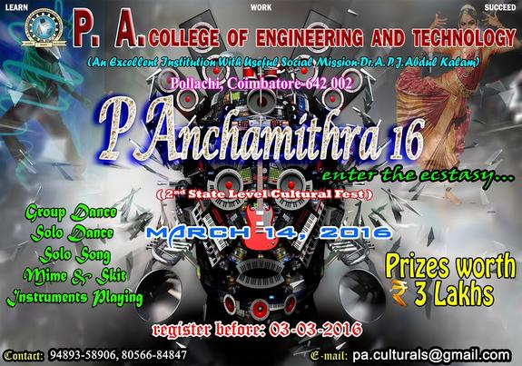 PAnchamithra 16, PA College of Engineering and Technology, March 14 2016, Pollachi, Tamil Nadu
