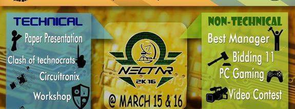 NECTAR 2K16, National Engineering College, Mar 15-16, 2016, Tuticorin, Tamil Nadu