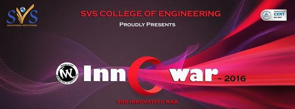 INNOWAR 2K16, SVS College of Engineering, March 11 2016, Coimbatore, Tamil Nadu