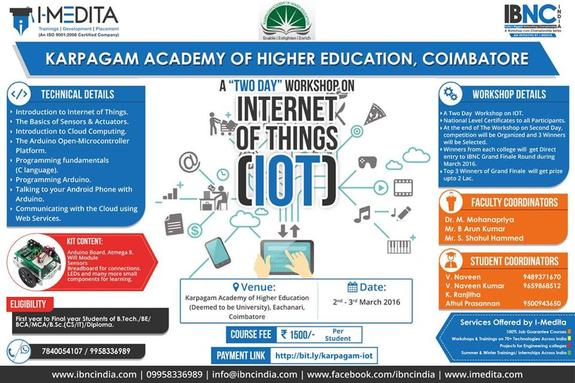 Internet of Things 16, Karpagam Academy of Higher Education, March 2-3 2016, Coimbatore, Tamil Nadu