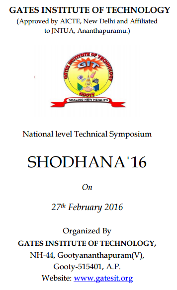 SHODHANA 16, Gates Institute of Technology, Feb 27 2016, Gooty, Andhra Pradesh