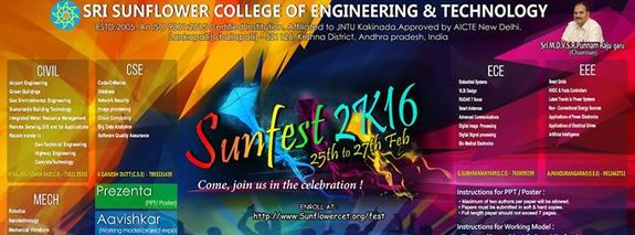 SunFest 2K16, Sri Sunflower College of Engineering & Technology, February 25-27 2016, Lankapalli, Andhra Pradesh
