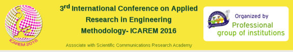 International Conference on Applied Research in Engineering Methodologies (ICAREM-2016), Professional Group of Institutions, March 10-11 2016, Tirupur, Tamil Nadu