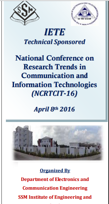 NCRTCIT-16, SSM Institute of Engineering & Technology, April 8 2016, Dindigul, Tamil Nadu