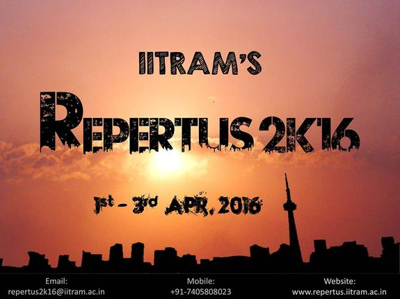 Repertus 2K16, Institute of Infrastructure Technology Research and Management (IITRAM), Apr 1-3, 2016, Ahmedabad, Gujarat