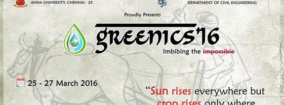GREENICS 2016, College of Engineering, March 25-27 2016, Chennai, Tamil Nadu