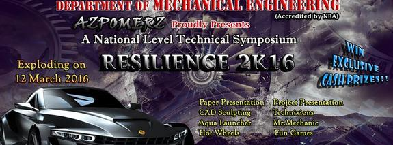 RESILIENCE 2k16, Sri Ramakrishna Institute of Technology, March 12 2016, Coimbatore, Tamil Nadu