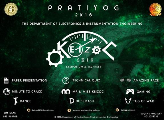 Keizoc2k16, Jeppiaar Engineering College, Mar 30-31, 2016, Chennai, Tamil Nadu