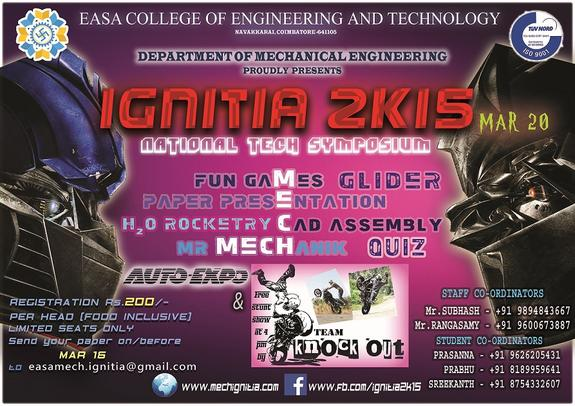 IGNITIA 2K16, Easa College of Engineering and Technology, March 15 2016, Coimbatore, Tamil Nadu