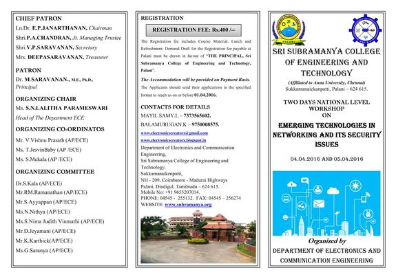 2 DAYS NATIONAL LEVEL WORKSHOP, Sri Subramanya College of Engineering & Technology, Apr 04-05, 2016, Dindigul, Tamil Nadu