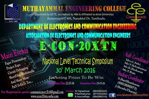 E-CON 20XTN, Muthayammal Engineering College, March 30 2016, Namakkal, Tamil Nadu
