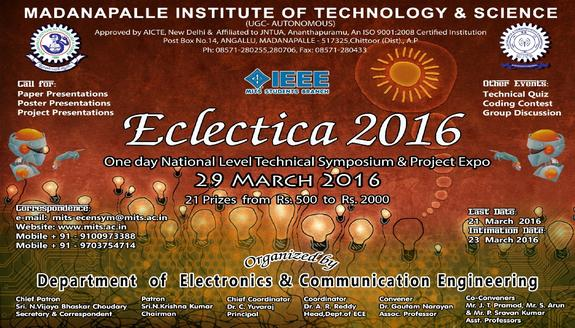 Eclectica 2016, Madanapalle Institute of Technology and Science, March 29 2016, Chittoor, Andhra Pradesh