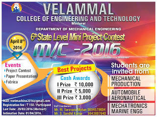 M/C 2016, Velammal College of Engineering and Technology, April 8 2016, Madurai, Tamil Nadu