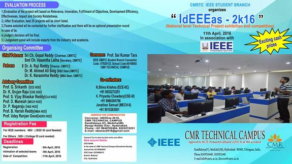 IdEEEas 2016, CMR Technical Campus, April 11 2016, Hyderabad, Telangana