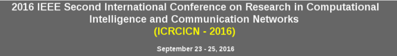 ICRCICN-2016, RCC Institute of Information Technology (RCCIIT), Sep 23-25, 2016, Kolkata, West Bengal