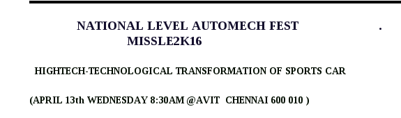 MISSLE 2K16, Aarupadai Veedu Institute of Technology (AVIT), April 13 2016, Chennai, Tamil Nadu