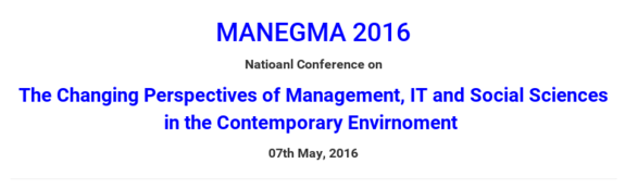 MANEGMA-2016, Srinivas Institute of Managements Studies, May 07, 2016, Mangalore, Karnataka