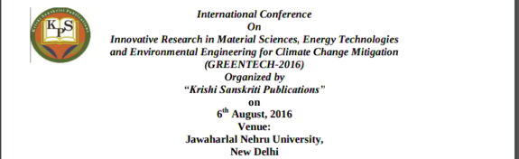 GREENTECH 2016, Jawaharlal Nehru University, August 6 2016, New Delhi, Delhi