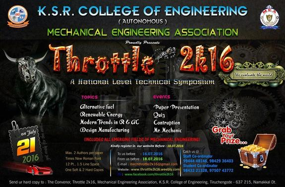 Throttle 2k16, KSRCE, July 21 2016, Tiruchengode, Tamil Nadu