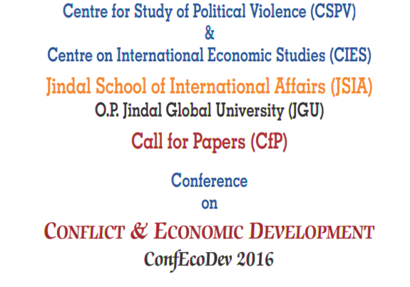Conference on Conflict and Economic Development  (ConfEcoDev) 2016, JSIA, September 26-27 2016, Sonipat, New Delhi, Delhi