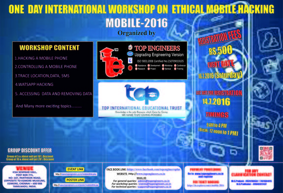 One Day International Workshop on Ethical Mobile Hacking MOBILE 2016, Top Engineers, July 16 2016, Chennai, Tamil Nadu