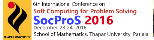 6th International Conference on Soft Computing forProblem Solving SocProS 2016, Thapar University, December 23-24 2016, Patiala, Punjab