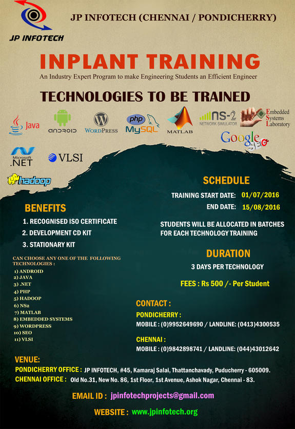 Inplant Training 2016, JP Infotech, July 1-August 15 2016, Chennai, Tamil Nadu