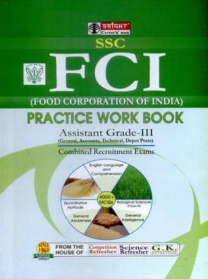 FCI Food Corporation of India Assistant Grade-3: Combined Recruitment Exams Practice Work Book (English) by