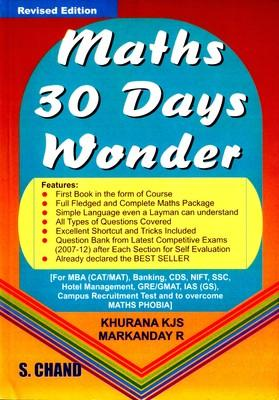 Maths 30 Days Wonder by khurana k.j.s.|author;markanday r.|author;-English-S. Chand Publisher-Paperback (English) by K J S Khurana