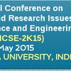 ICRTRICSE-2015,  Andhra University, May 2-3 2015, Visakhapatnam, Andhra Pradesh