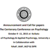 A Centenary Conference on Psychologythe, University of Calcutta, October 9 ‐11 2015, Kolkata, West Bengal