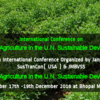 International Conference on Environment and Agriculture in the UN Sustainable Development Goals, Maulana Azad National Institute of Technology (MANIT), Dec 17-19, 2016, Bhopal, Madhya Pradesh