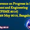 4 th International Conference on Progress in science Management and Engineering (ICPSME-16), IOSRD, May 27-28, 2016, Bangalore, Karnataka