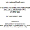 International conference on Microfinance and Microentrepreneurship A Glocal Perspective 16, BPS Mahila Vishwavidyalaya, October 26-27 2016, Sonipat, Haryana