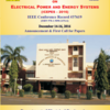 International Conference on Electrical Power and Energy Systems (ICEPES 2016), MANIT, December 14-16 2016, Bhopal, Madhya Pradesh
