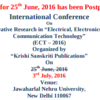 International Conference On Innovative Research in Electrical Electronics and Communication Technology ECT 2016, JNU, July 3 2016, New Delhi, Delhi