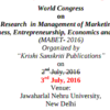 World Congress on Innovative Research in Management of Marketing Accounting (MABET) 2016, Krishi Sanskriti Publications, July 3 2016, New Delhi, Delhi