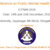International Conference on Public Mental Health & Neurosciences 16, Jain University,  December 14-15 2016, Bangalore, Karnataka
