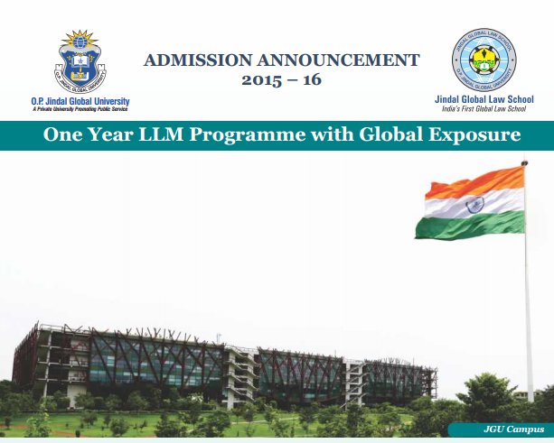LLM Programme with Global Exposure 2015-16 @ Jindal Global Law School, Sonipat