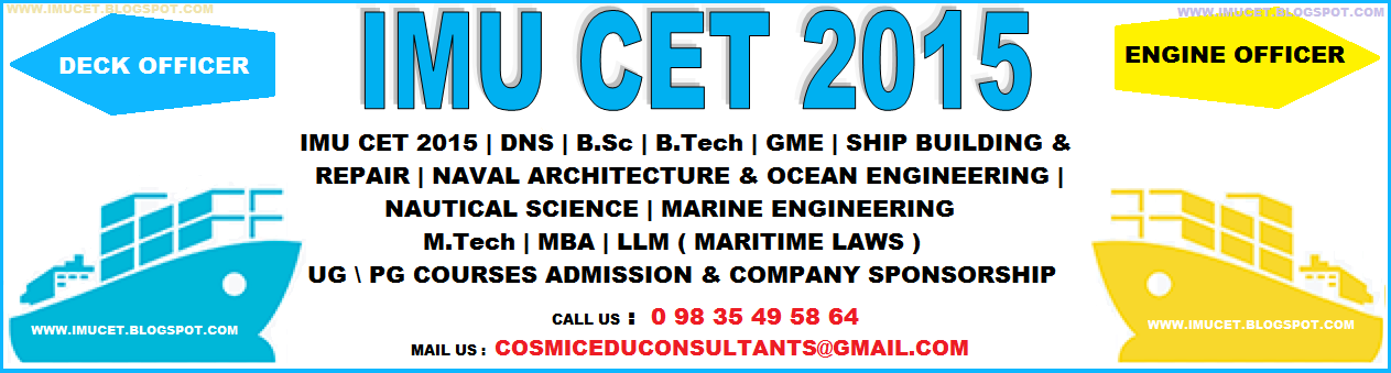 IMU CET 2015 (Indian Maritime University Common Entrance Tests) Notification and Exam Dates