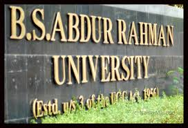PhD Admission 2015 (Full Time/ Part Time) @ B S Abdur Rahman University, Chennai