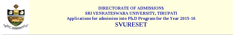 Sri Venkateswara University Research Entrance Test (SVURESET) 2015 Notification and Exam Date